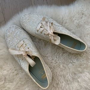 KEDS X kate spade Cream GLITTER 8.5 Like New